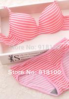 Summer stripe seamless a type push up thin young girl underwear bra set