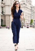 2014 fashion cross new women summer sleeveless chiffon jumpsuit pants trousers Rompers bodysuit jumpsuits plus size 331