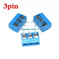 Free Shipping 100PCS 3 Pin Screw Terminal Block Connector 5mm Pitch 5.08-301-3P 301-3P 3pin