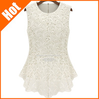 hot sale! Fashion lace basic shirt doll chiffon shirt top sleeveless women blouse new 2014