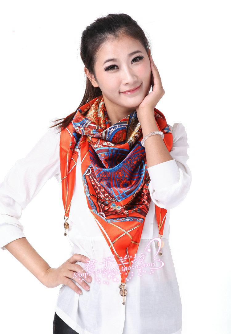 2014 Girls New Fashion Scarf Large triangle scarf women's magic scarves cape double faced silk scarfs(China (Mainland))