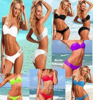 Hot Sale Fashion Bandeau Swimwear Women Bikini Set Sexy Swimsuit Padded Bathing Suit Lady Beachwear