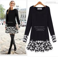 Winter Autumn  Dresses  New Arrival Women's European & American Plus Size  Fat MM Slim Fake Two-piece Long-sleeved Dress Tutu