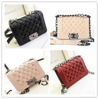 2014 women's handbag knitted small fashion vintage one shoulder Evening bags cross-body plaid chain small bag