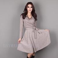 Plus Size Legend! New 2014 Spring Autumn Women's Slim One-piece Dress Elegant  V neck Long Sleeve With Belt XXXL XXXXL 5XL HT682