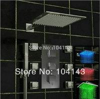 "50027B/4 Perfect Best Quality 10"" LED Shower Head Bathroom Products Luxury Rainfall Chrome Shower Set"