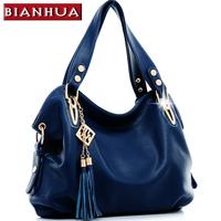 2014 Women's handbag blue casual shoulder bag women's messenger bag khaki big bag with tassels