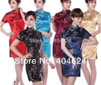 Wholesale Silk Chinese Costume Tang Suit Women Cheongsams Party Evening Wedding Dragon And phoenix Dress,S,M,L,XL,2XL,6Colors