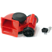 Free Shipping Red Horn Dual Tone Compact Air Horn Snail Car Motorcycle Vehicle