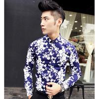 2014 all-new men's fashion casual long-sleeved shirt wild flower pattern Hawaiian shirt printing men's Slim stylish flower