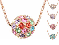 Shamballa Beads Crystal Ball Pendant Necklace Fashion Vintage style Jewelry 18K Rose Gold Plated Necklaces For Women  6341