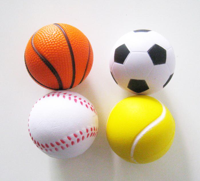 free shipping ,4pcs /lot sport stress ball,pu basketball,pu baseball,squeeze ball ,anti stress ball 6.3cm diameter(China (Mainland))