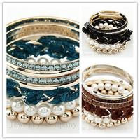 Free shipping Fashion style lace imitation pearl bracelets & bangles!Fashion alloy bracelet