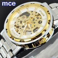 Hot Mechanical Hand Wind Watch For Men Full Steel Watches Male Casual Clock Fashion Dress Luxury Brand Wristwatches MCE 0060062