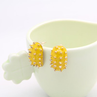 2014 New fashion punk & rivet stud Earrings fluorescent hedgehog shape jewelry earrings for girls' gift