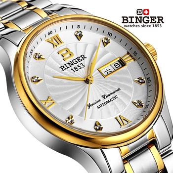 Бесплатная доставка оригинальный товар высокого качества бингер мужчины автоматические механические часы водонепроницаемые нержавеющей стали бизнес мода часы
