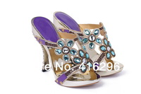 Factory wholesale 2014 newest summer new lady sexy high-heeled EU and US fish head shoes sandals plating rhinestones
