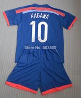 2014 KAGAWA 10 HONDA 4 home Blue soccer jerseys sets, HONDA good quality football jerseys+shorts+can custom names