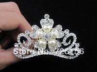 Free Shipping (240pcs/lot)Baby Girl Tiara Pearl And Diamond Tiara Hair Combs Wedding Tiara