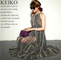 2014 Empire Lace Vestido De Festa Dresses Gentlewomen Serpentine Pattern Long Halter-neck Elegant Design Chiffon One-piece Dress