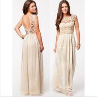 summer dress 2014 Winter Dresses women Sleeveless White Crochet Chiffon Sexy vestidos Desigual Halter Maxi Party Long dress