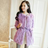 2014 new spring autumn good quality 100% real natural rabbit fur coat medium-long o-neck rabbit fur coat WTP2