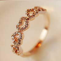 2014 New Korean Crystal Heart Rings Love Rings for Women Female Gold Ring Crystal Jewelry ML-356