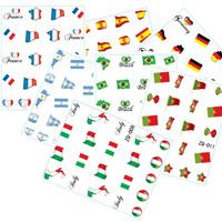 HOTSALE 20sheet/LOT Brazil Flag World Cup WATER DECAL NAIL ART Accessories Football Serie Nail Tattoo,22  Different design