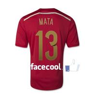 A+++ 13# MATA Spain Nation World Cup Kit Soccer Jersey Thailand Player Version 2014 Spanish Futbol Camisetas Shirt