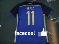 A+++ Top Men Thailand 11# Tevez Argentina 14 15 Away Outdoor Soccer Kit Camisetas De Futbol Jersey Football Custom Name