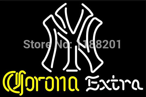 """CORONA EXTRA NEON NEW YORK YANKEES WHITE NEON SIGN NEW 19""""X15""""(China (Mainland))"""