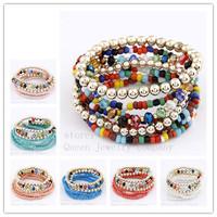 Hot!!!Elastic multilayer bead bracelet!Bohemia sweet bracelets & bangles free shipping