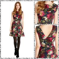 Free shipping 2014d American temperament Can Manshan camellia printed round neck waist dress princess  dress  3470117261