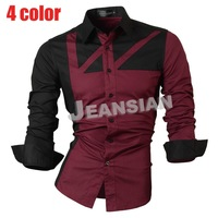 Mens Fashion Cotton Designer Splice Slim Fit Dress man Shirts Tops Western Casual  8312