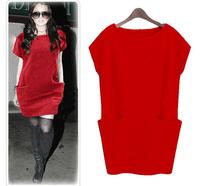 New 2014 Summer Casual Women Solid Pockets Short Sleeve Bud Dress Vestidos, Red, Black, Dark Gray, Light Gray, M, L, XL, XXL