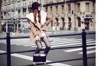 New 2014 fashion spring autumn winter women hood woolen outerwear thermal long-sleeve overcoat rabbit fur skinny woolen