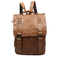 2014 Vintage Casual Genuine Leather Cowhide Oil Wax Leather Men Backpack Backpacks Shoulder Bag Bags For Men 1223