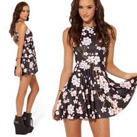 Free Shipping New 2014 Fashion Designer Women Spring Summer Sleeveless Tunic Floral Flower Print Adventure Time Sexy Dress 6578