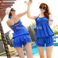 Free shipping 2014 women swimwear beach swimsuit bathing suit cover ups women split tankini set swimsuit swimwear