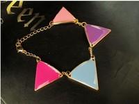 2014 New Jewelry Women Bracelets Multi-color Triangle Bracelet Enamel Bangles for Female XM-002