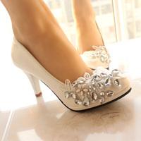 Wedding shoes Bridesmaid shoes white beautiful handmade lace flower rhinestone bridal shoes high-heeled single shoes