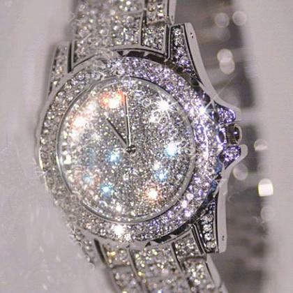 New Arrial Fashion Women Rhinestone Watches Diamond Austria Crystal Luxury Ladies Dress Watch Female Wedding Jewelry Bangles(China (Mainland))