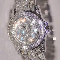 New Arrial Fashion Women Rhinestone Watches Diamond Austria Crystal Luxury Ladies Dress Watch Female Wedding Jewelry Bangles