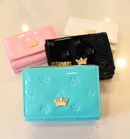 New 2014 leather short brand crown women female card holder mango wallets clutch purses carteira feminina Free Shipping 60