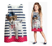 2014 new sumner cartoon dog printing lovely dress kid children clothing girl Baby dress for dancing party striped baby dress