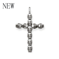 2014 New ! Wholesale Free shipping 925 sterling silver Pendant ,Men jewelry cool skull pendant fits Punk necklace TS1297