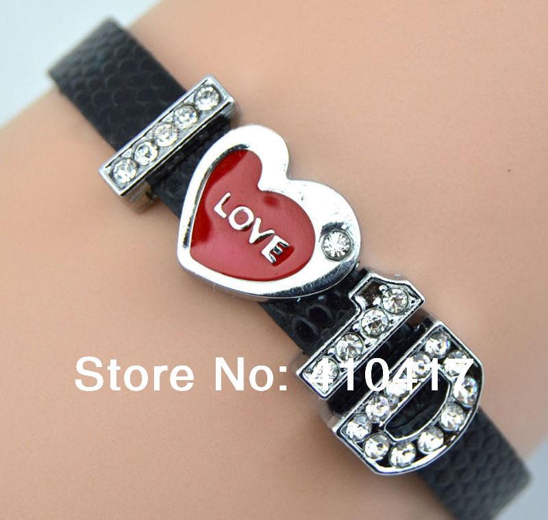 я люблю 1d кожаный браслет слайдер crystal 10шт бусы Браслеты дружбы браслеты ручной работы в одном направлении