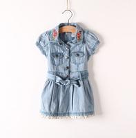 Free Shipping High Quality Denim Dress Retro Embroidery NEW Children Child Baby Girl Summer Leisure Fashion Dress Dresses Gift