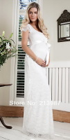 2014 New fashion maternity evening gowns bubble butterfly sleeve high waist lace full dress elegant maternity evening dress