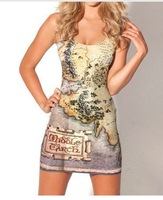 Free shipping 2014 Fashion Dresses Women Digital Printed THE HOBBIT MAP DRESS Women Milk Style Sundress Free Shipping